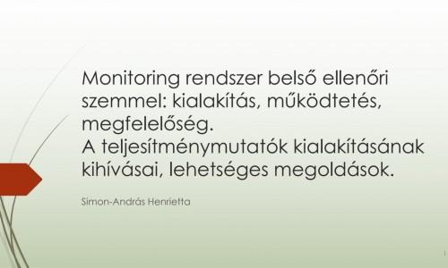 A monitoring rendszer belső ellenőri szemmel